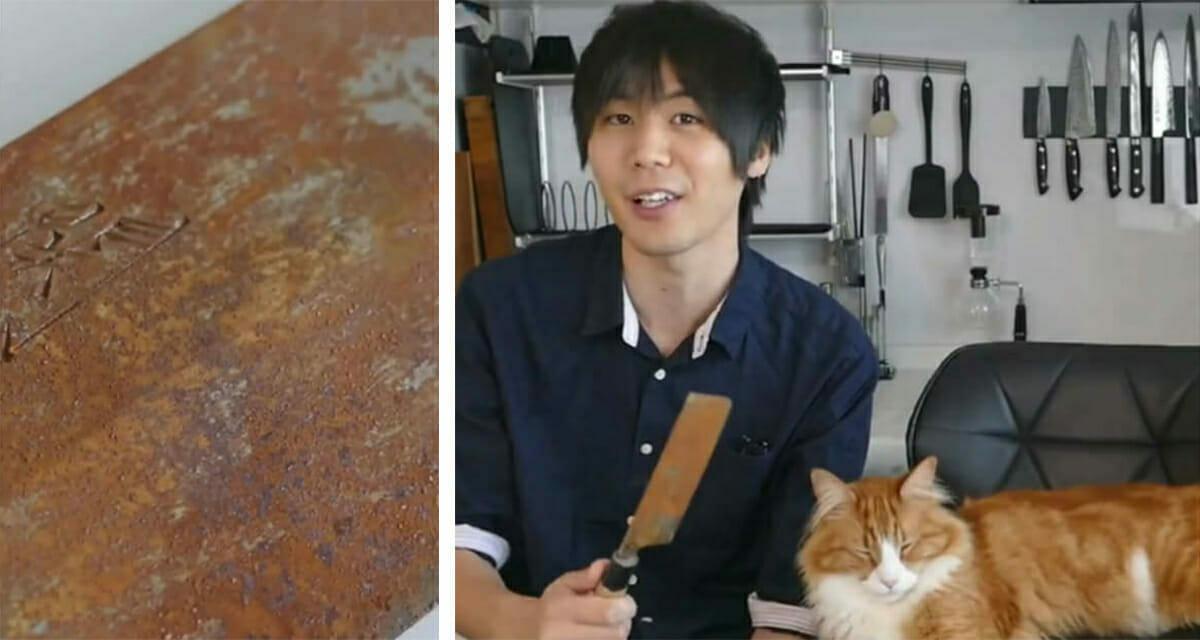 Grafika przedstawia dwa zdjęcia: po lewej zardzewiały nóż, po prawej Jun