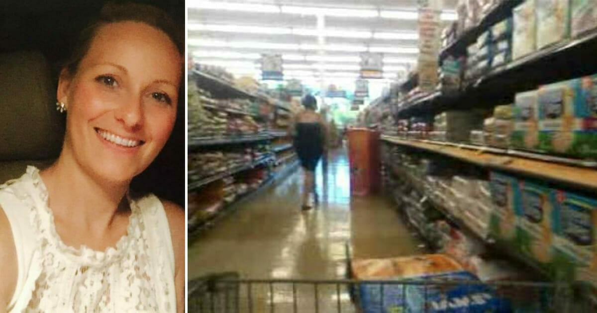 Grafika przedstawia dwa zdjęcia: po lewej uśmiechnięta kobieta, po prawej alejka w sklepie samoobsługowym