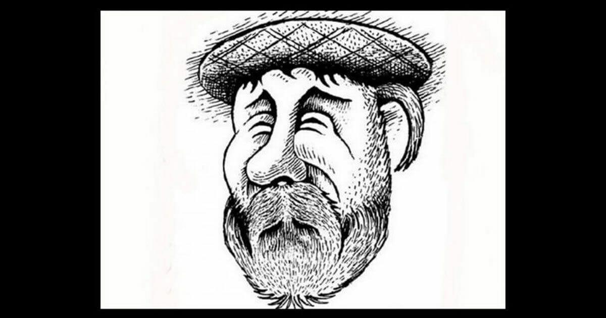 Szkic przedstawiający starszego mężczyznę