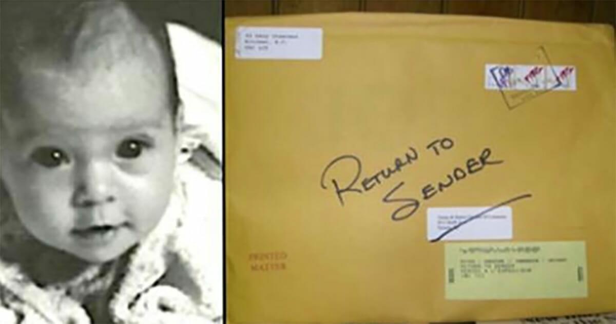 Grafika przedstawia dwa zdjęcia: po lewej Jen jako niemowle, po prawej koperta z listem