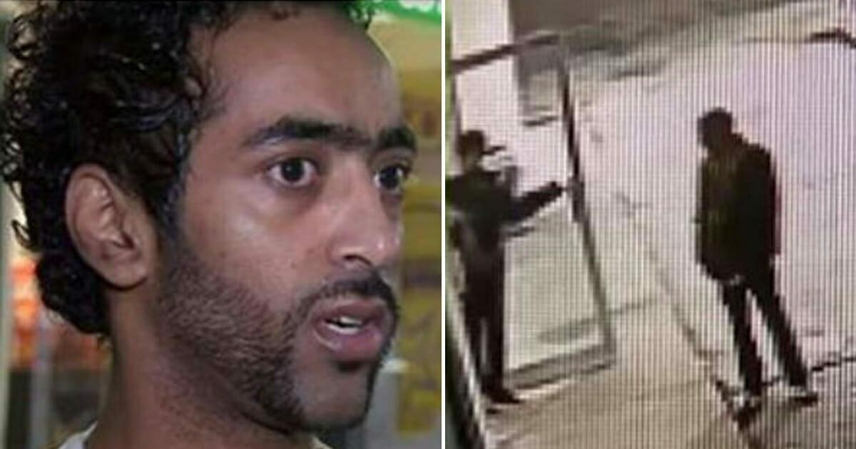 Grafika przedstawia dwa zdjęcia: po lewej Manveer, po prawej ujęcie zdarzenia z monitoringu