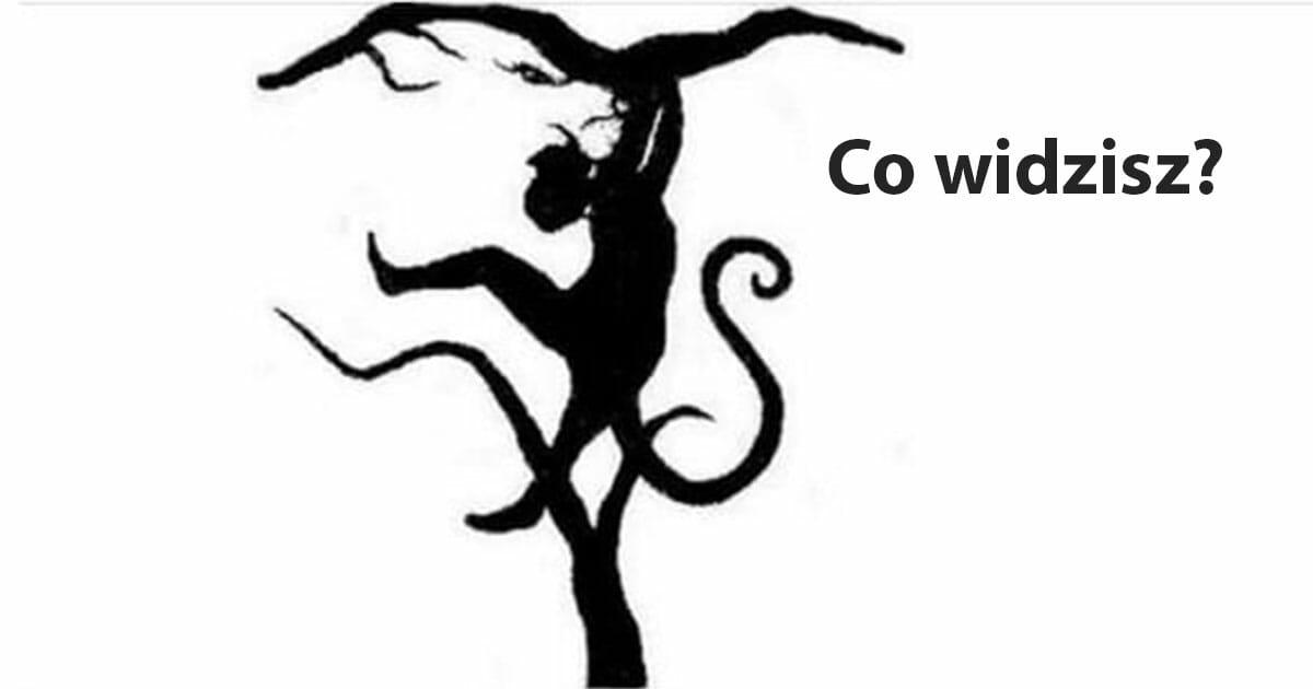 Obrazek przedstawia test osobowości - jest to rysunek, na którym można dostrzec zarówno tygrysa, jak i małpę