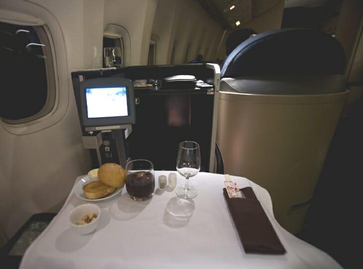 Miejsce pierwszej klasy w samolocie