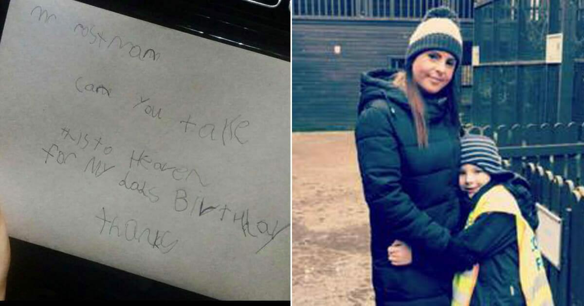 Grafika przedstawia dwa zdjęcia: po lewej list napisany przez Jasego,po prawej chłopiec ze swoją mamą