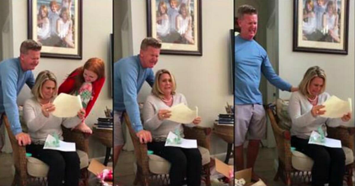 Trzy zdjęcia wzruszonych rodziców Pavina, którzy właśnie dowiedzieli się o prezencie od syna