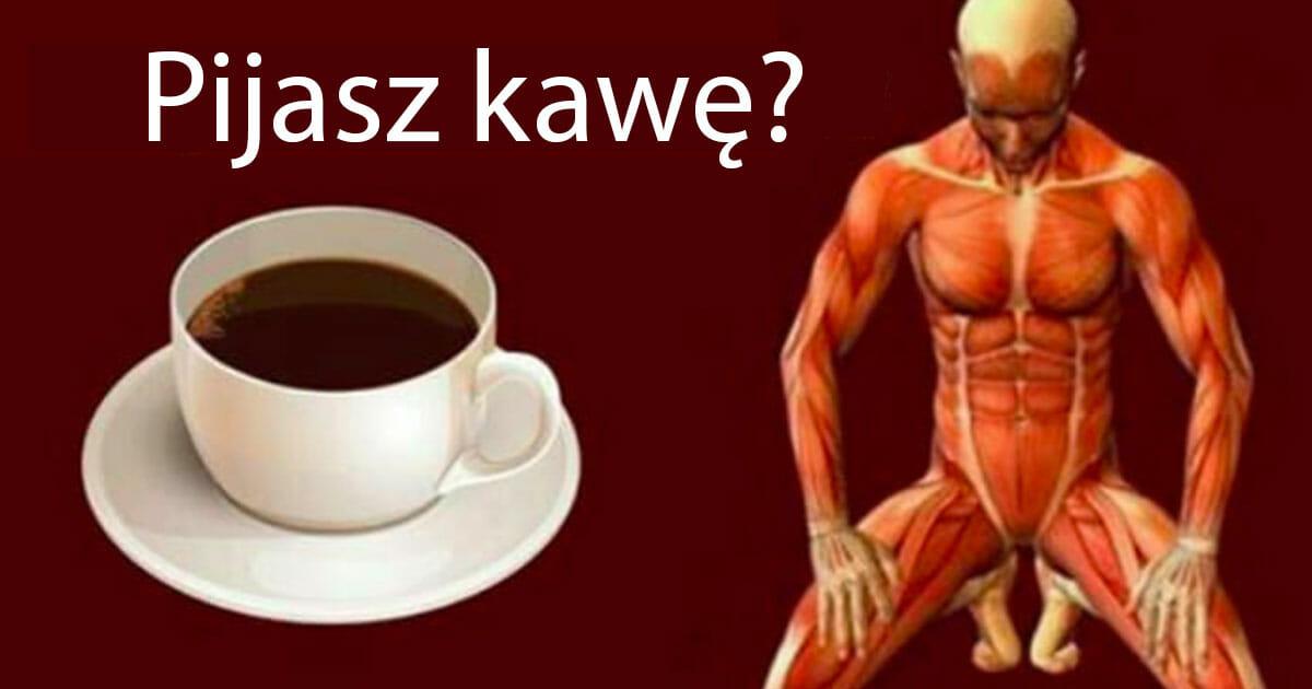 Grafika przedstawia dwa obrazki - po lewej filiżanka czarnej kawy, po prawej rysunek ludzkiej sylwetki, która nie jest pokryta skórą, widać sam układ mięśni