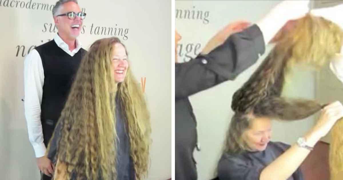 Transformacja Roszpunki zaczyna się od ścięcia ponad 1 metra włosów - zobacz jej reakcję, gdy widzi się po cięciu