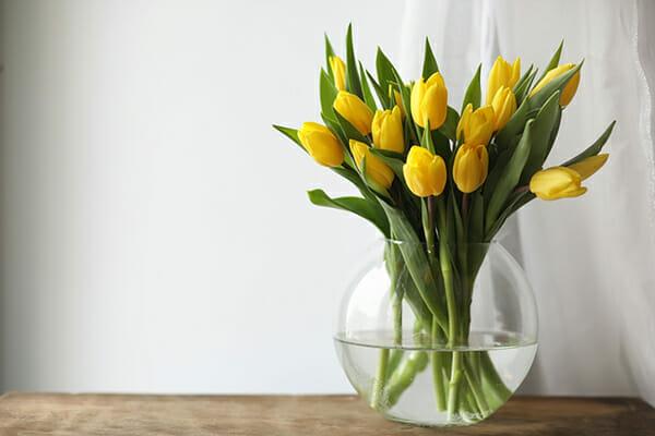 Bukiet żółtych tulipanów w wazonie