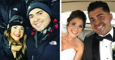 Dwa zdjęcia Jessici i Aarona - po lewej para w strojach zimowych, po prawej w samochodzie podczas swojego ślubu
