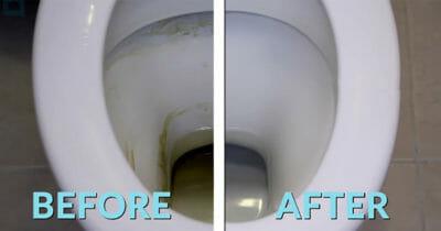 Grafika przedstawia dwa zdjęcia: po lewej toaleta przed myciem, po prawej po myciu