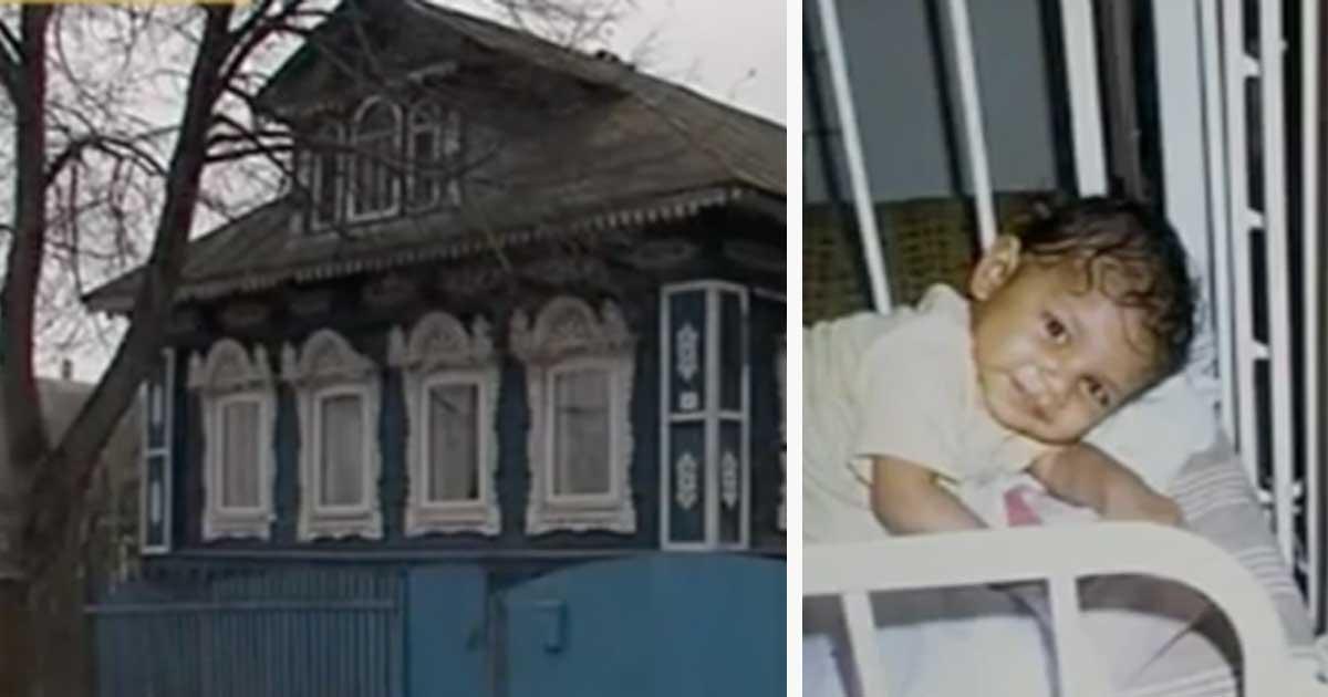 Grafika przedstawia dwa zdjęcia: po lewej stary rosyjski dom, po prawej malutka Liza w łóżeczku
