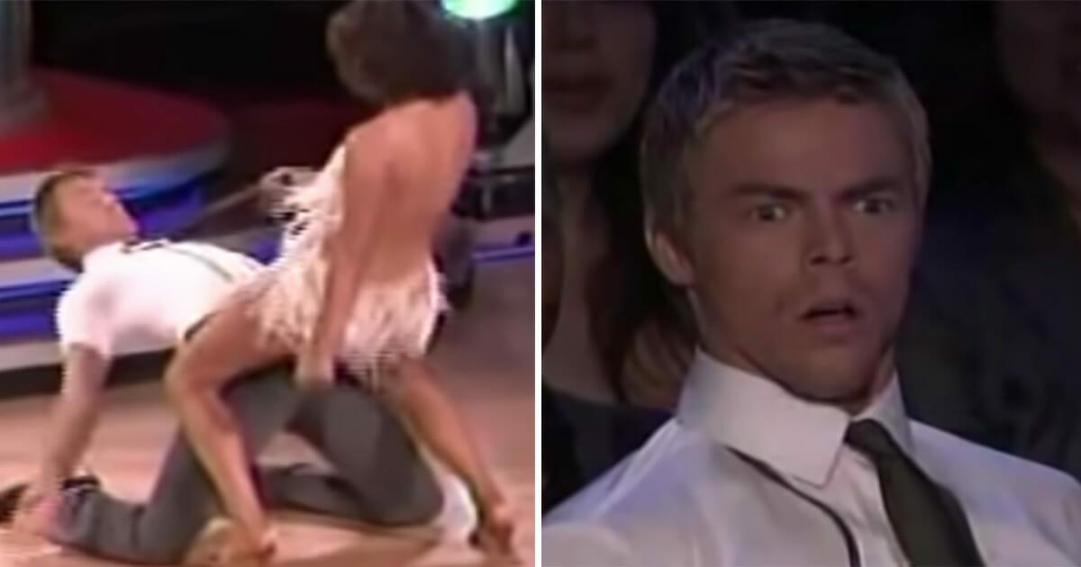 Grafika przedstawia dwa zdjęcia - sceny z występów Jennifer Grey w tańcu z gwiazdami