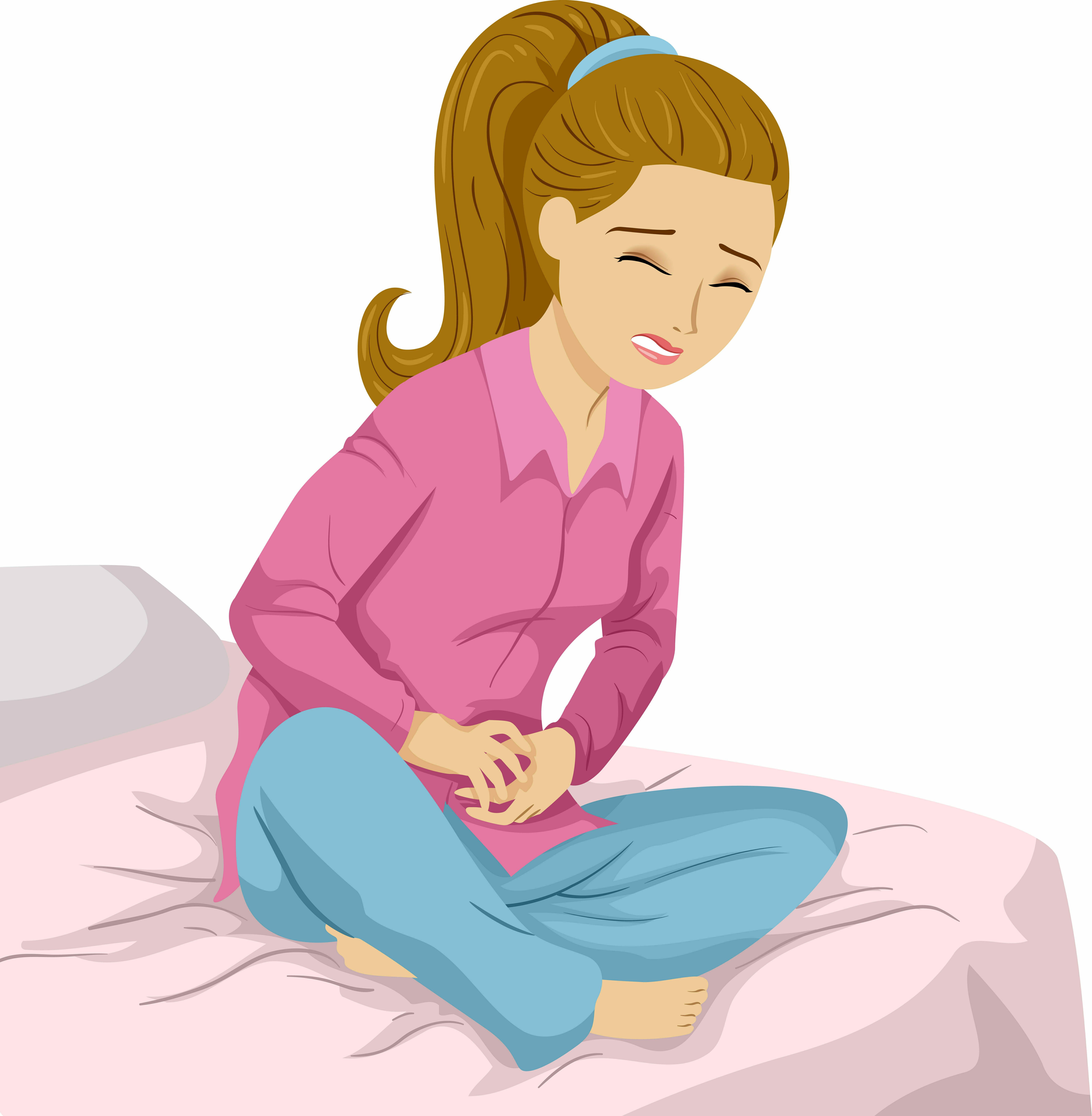 Rysunek przedstawiający kobietę siedzącą na łóżku i trzymającą się za brzuch