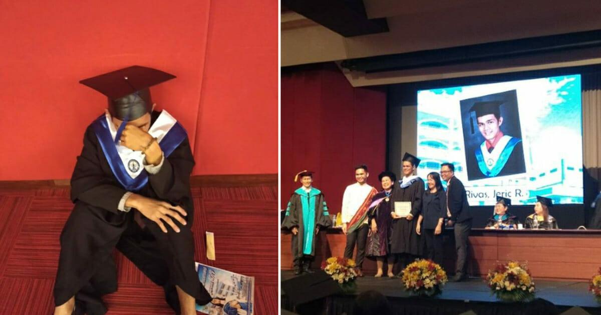 Grafika przedstawia dwa zdjęcia: po lewej siedzący na podłodze absolwent z twarzą w dłoniach, po prawej uroczystość rozdania dyplomów