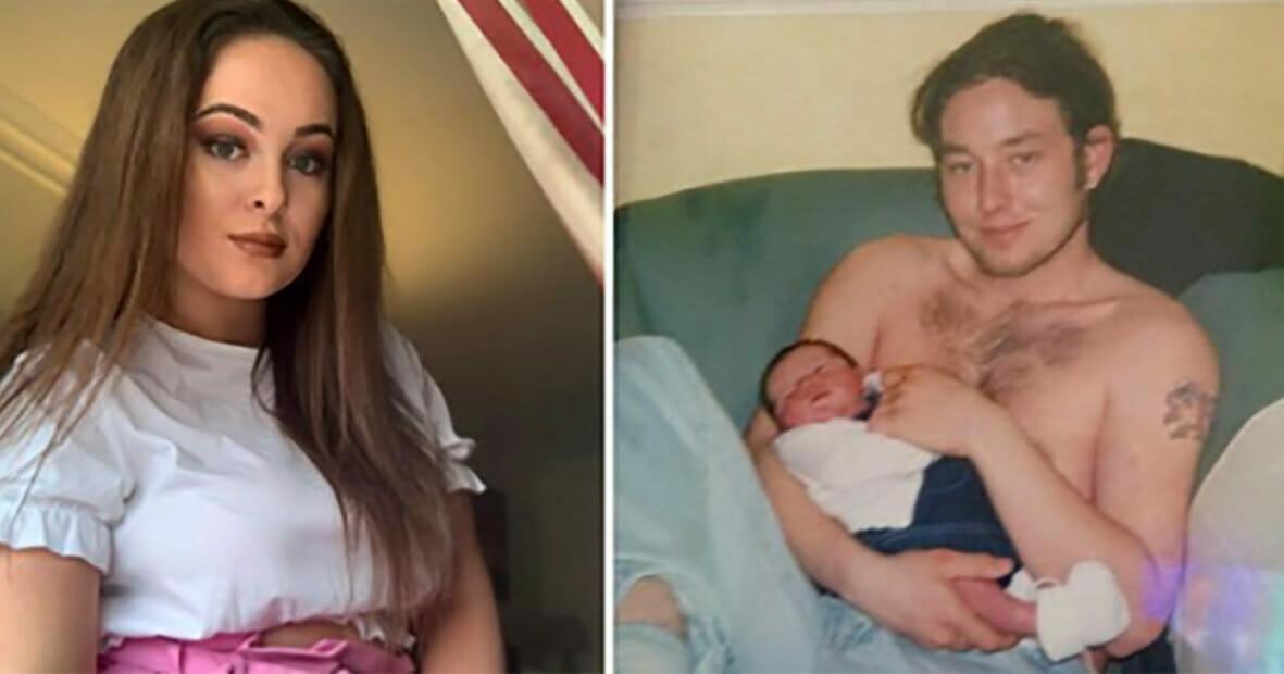 Grafika przedstawia dwa zdjęcia: po lewej dorosła Jessica, po prawej maleńka Jessica na rękach swojego taty