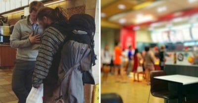 Grafika przedstawia dwa zdjęcia: po lewej bezdomny podróżnik z kierownikiem restauracji, po prawej rozmazane wnętrze restauracji