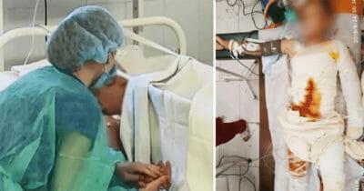 Grafika przedstawia dwa zdjęcia: po lewej matka czuwająca przy łóżku dziecka; po prawej chłopiec leżący w szpitalu w stanie krytycznym