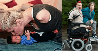 Grafika przedstawia dwa zdjęcia: po lewej Alison Lapper z synem Parysem, kiedy ten był maleńki; po prawej ta sama para kilkanaście lat później