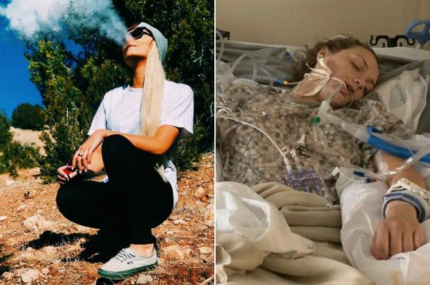 Po lewej Maddie paląca e-papierosa, po prawej Maddie w stanie śpiączki farmakologicznej