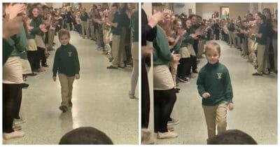 6 latek wygrał z rakiem, koledzy z klasy przywitali go owacją na stojąco