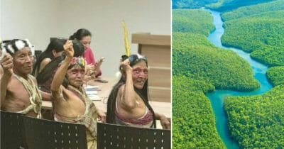 Grafika przedstawia dwa zdjęcia: po lewej indiańskie plemię w sądzie, po prawej lasy Amazonii