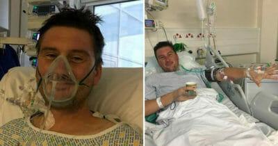 Grafia przedstawia dwa zdjęcia, na obu widać Adama podczas pobytu w szpitalu