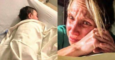 Grafika przedstawia dwa zdjecia: po lewej chory chłopiec, po prawej jego załamana mama