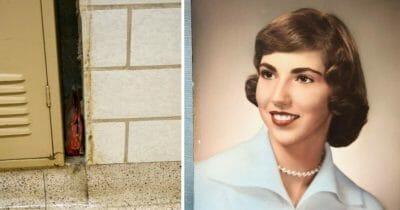 Grafika przedsawia dawa zdjęcia: po lewej torebka między szafką a ścianą, po prawej jej włascicielka w młodości