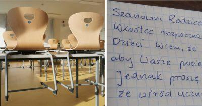 Nauczyciel odsyła do domu uczniów z odręcznie napisaną notatką dla rodziców