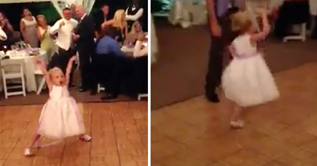 9bd899d27f39 Lille brudepige danser til brylluppet